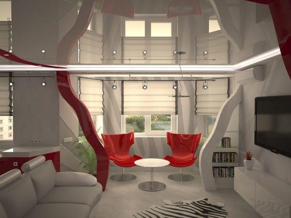 Глянцевый потолок в кухне-гостиной