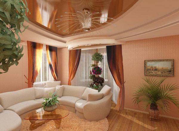 Гостиная с двумя окнами в частном доме
