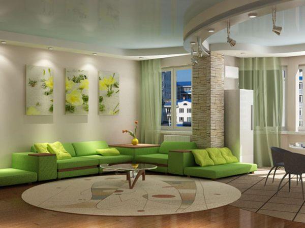 Зелёные тюли в гостиной