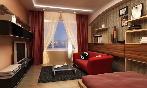 Бордовый цвет в интерьере маленькой гостиной