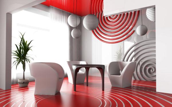Красно-белые объёмные круги в гостиной на стене