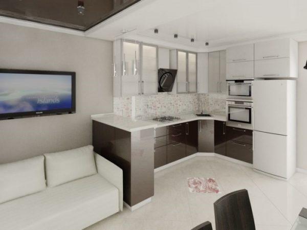 Кухня-гостиная 17 кв.м в белом цвете