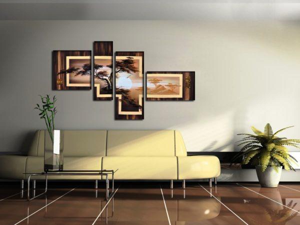 Модульная картина на серой стене