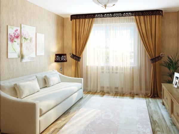 Белый диван и шторы в гостиной