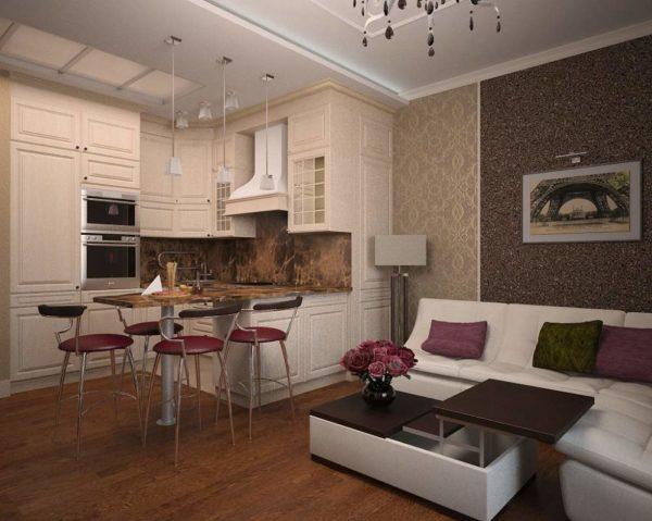 Гостиная-кухня 18 кв.м