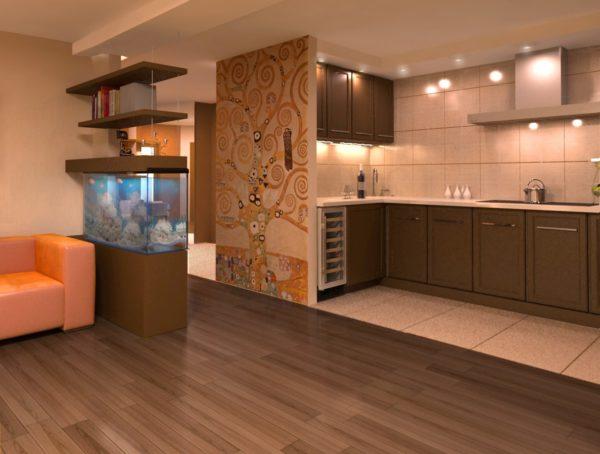 Небольшая стена в гостиной-кухне