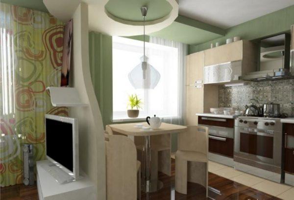Гибсокартоновая стена в кухне-гостиной