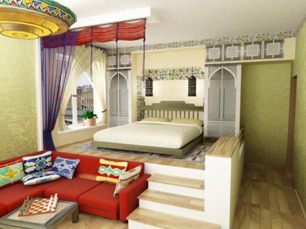 Спальное место на высоком подиуме фото