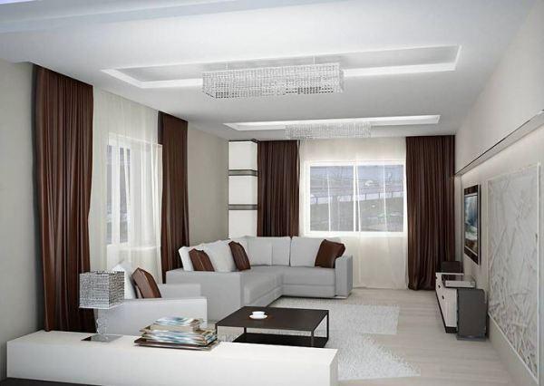 Коричневые шторы в белой гостиной