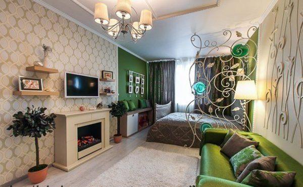 Спальня-гостиная с камином