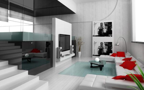 Большой белый диван и красные подушки