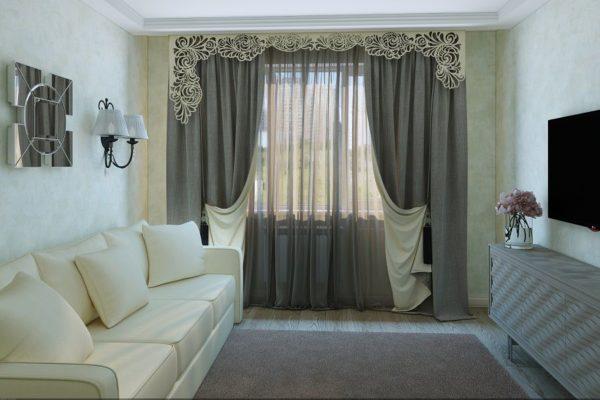Серый портьер в гостиной