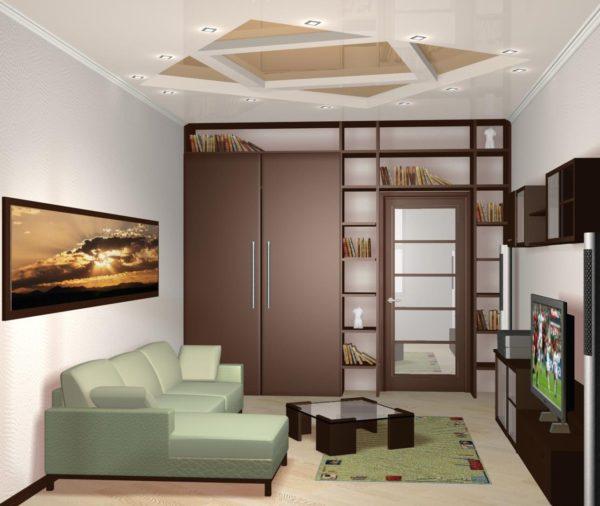 Шкаф с небольшими стеллажами в интерьере небольшой гостиной