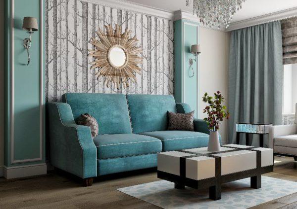 Бирюзовый диван в зале