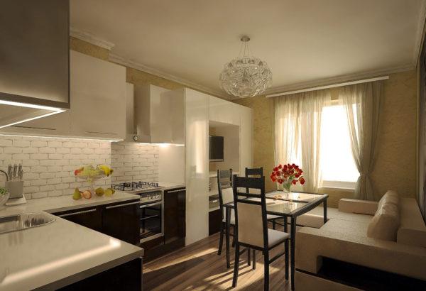Кремовые тона в кухне-гостиной