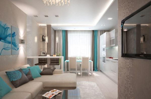 Угловой диван в интерьере кухни-гостиной