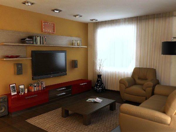 Фото интерьера гостиной 18 кв.м
