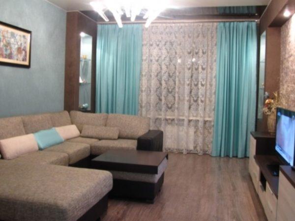 Гостиная голбого и коричневого цвета фото