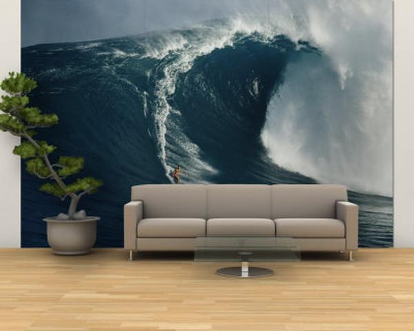Морская волна в зале на стене