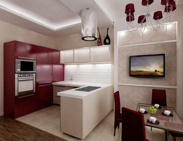 Бордовые тона в гостиной-кухни