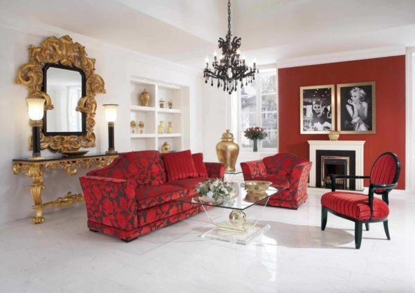 Классическая красная мебель фото