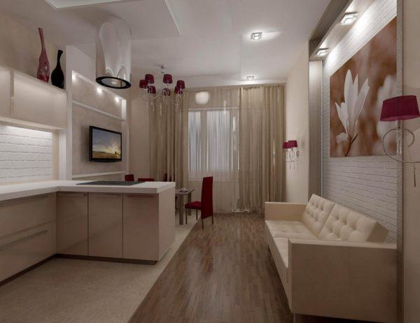 Освещение в кухне-гостиной 13 кв.м