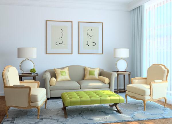Зелёный пуфик в гостиной