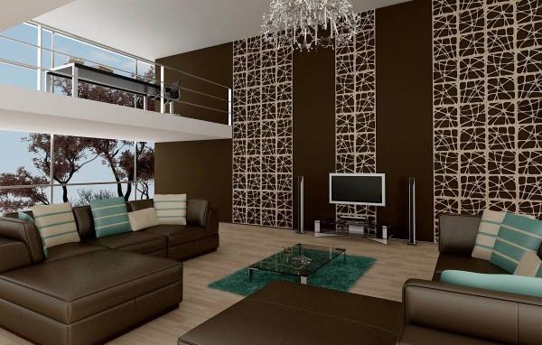 Оригинальные стены в гостиной