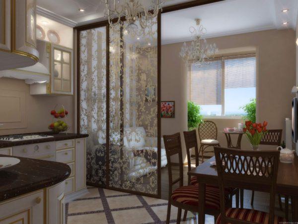 Раздвижные перегородки в кухни-гостиной фото
