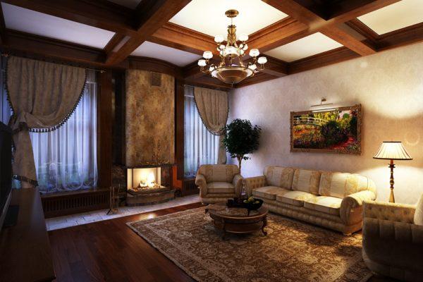 Тёмная древесина в гостиной