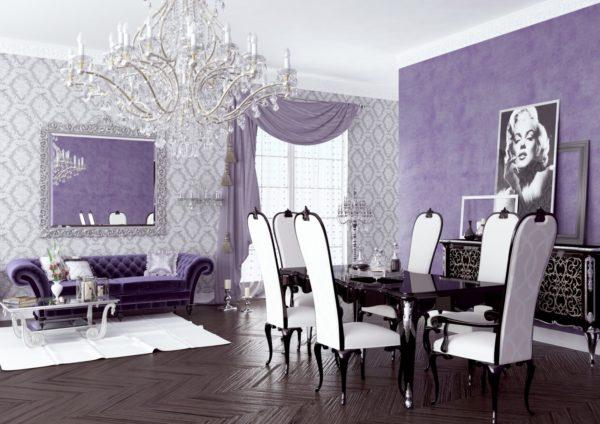 Белый и сиреневый цвет в гостиной
