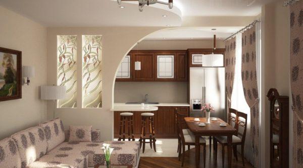 Декоративная стена в разделении гостиной и кухни