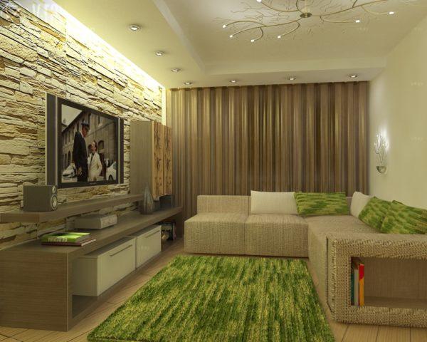 Использование в дизайне гостиной декоративного камня