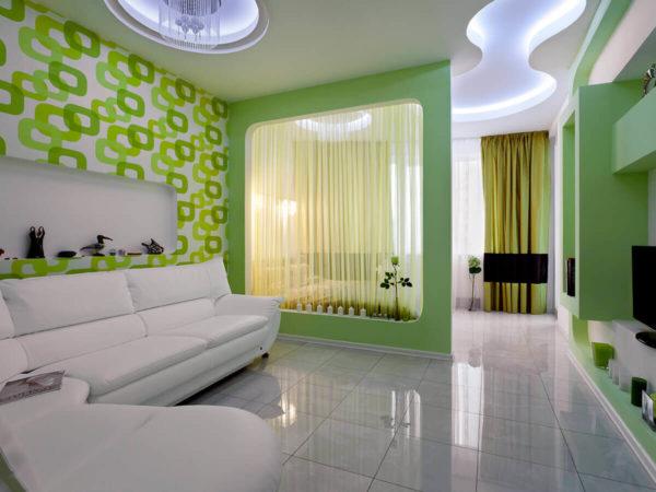 Фото зелёной гостиной-спальни