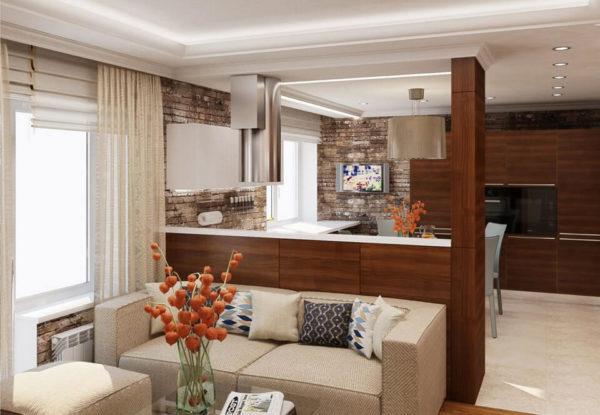 Беженый диван в кухне-гостиной