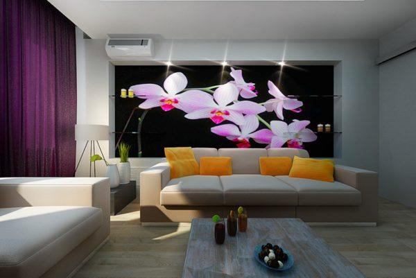 Орхидеи на тёмном фоне в гостиной