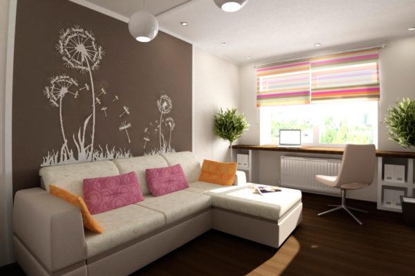 Необыкновенный рисунок на стене в гостиной