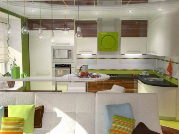 Яркие оттенки в интерьере кухни-гостиной