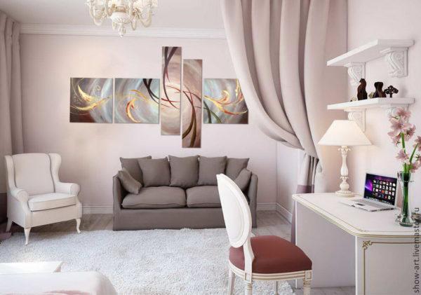 Модульная картина в гостиной в нежных тонах
