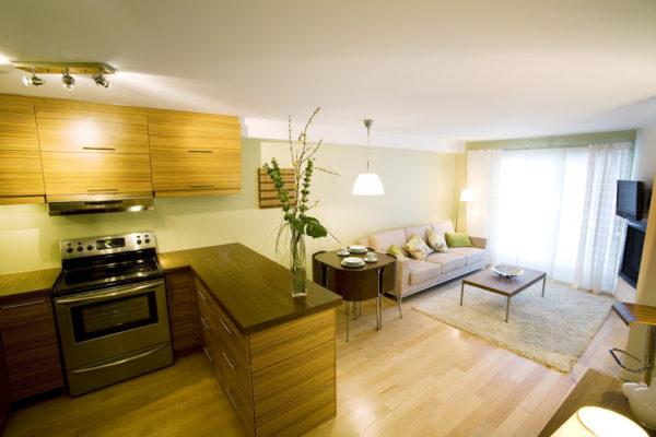 Светлый диван и светлый ковёр в интерьере кухни-гостиной