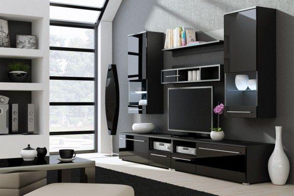 Дизайн корпусной чёрной мебели для гостиной