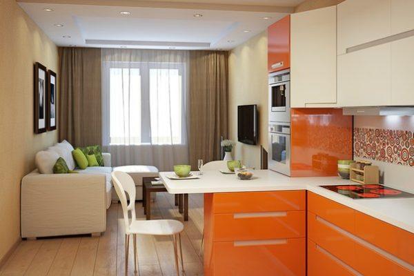 Дизайн кухни гостиной 13 кв м