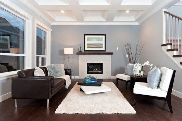 Чёрно-белая мебель в интерьере зала