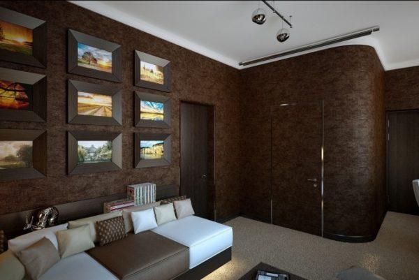 Тёмно-коричневая гостиная фото интерьера