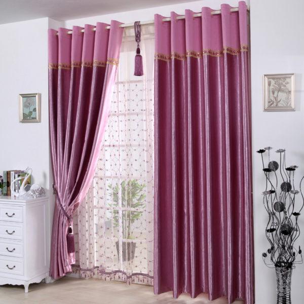 Атласные сиреневые шторы