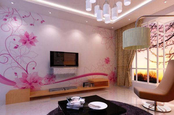 Гостиная с розовыми стенами