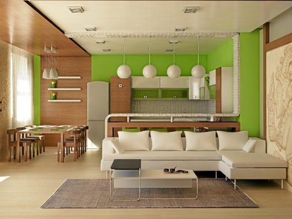 Салатовая кухня и белый диван в дизайне