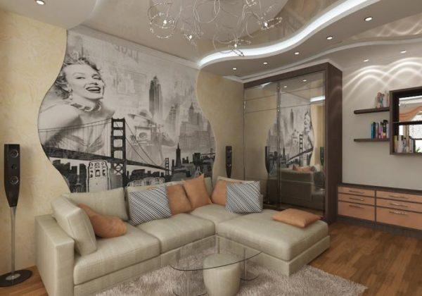 Оригинальный интерьер в гостиной