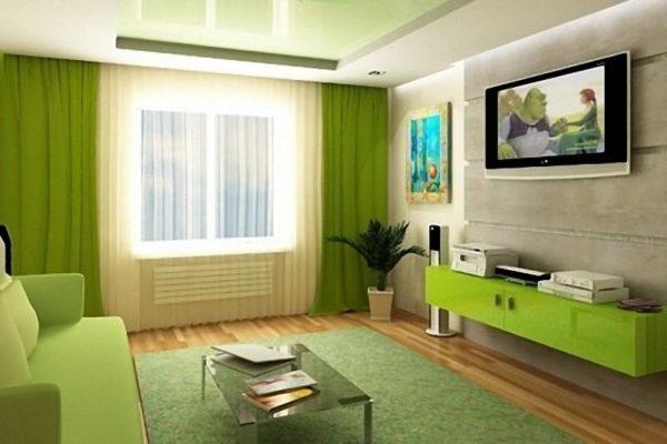 Зелёный диван и стенка