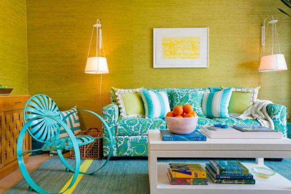 Мебель бирюзовая в интерьере
